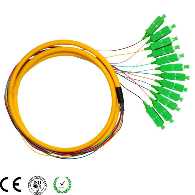 SC APC 12 cores armored 900um single mode fiber optic pigtail