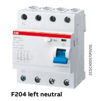 SELL ABB F 200 series left neutral breakers F204A-40 /0.03 F204A-100 /0.03