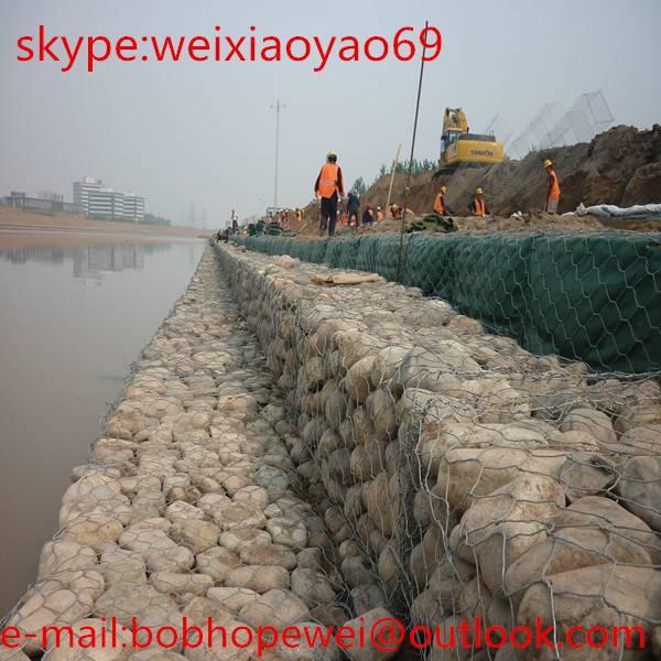 Stone cage wire mesh for retaining wall / gabion triple twist mesh