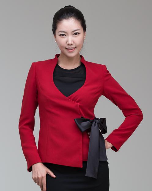 Formal Blazer Jacket Women with Satin Ribbon