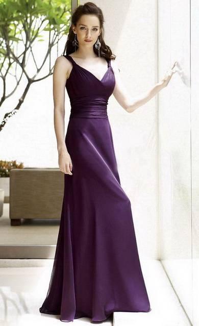 Column Straps Floor Length Chiffon Bridesmaid / Evening Dress