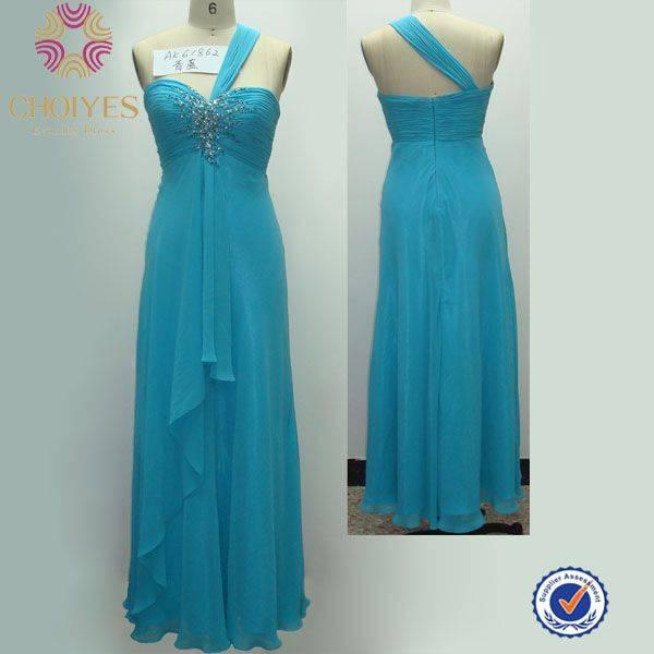 2014 fashion single shoulder flare bridesmaid dress for wedding