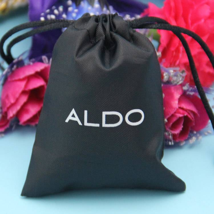 black color non-woven drawstring bag with white logo printed
