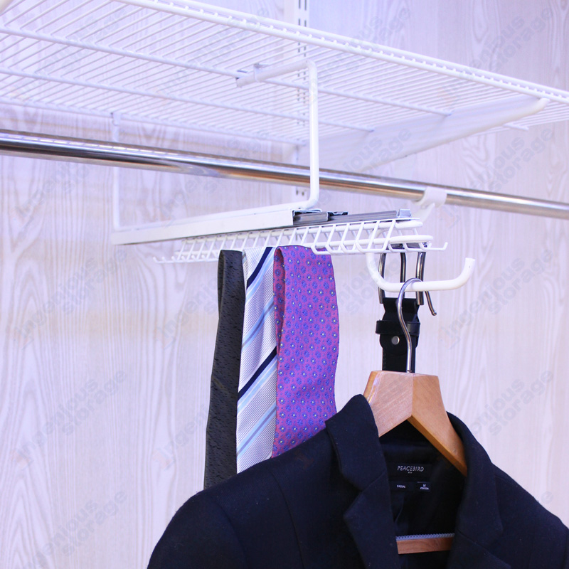 White Gliding Tie&Belt Rack with Valet Hook