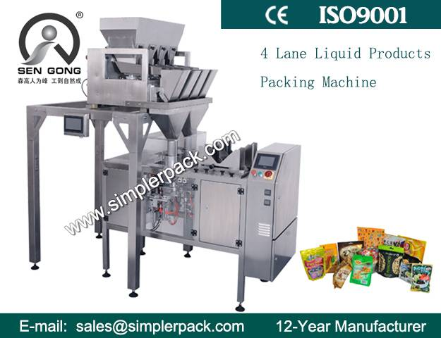 4 Electric Scales Automatic Pre-made Bag Packing Machine