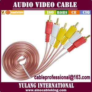 transparent copper 3rca to 3rca audio video cable