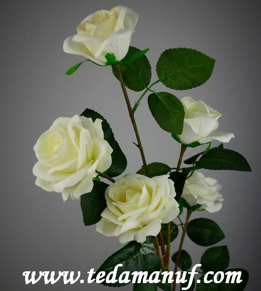 Hot sale artificial white silk rose branch