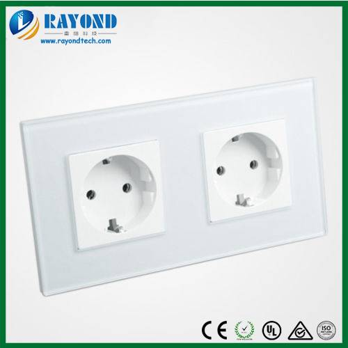 Double 16Amp European Schuko Outlet Wall Socket with Crystal Glass Panel