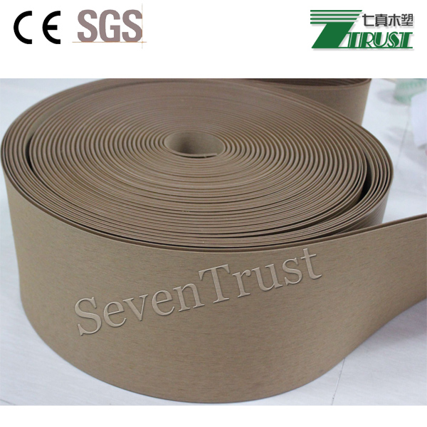 Embossing and sanding synthetic marine teak decking soft PVC decking