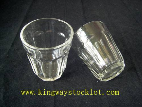 stock glass cup/surplus glass cup/ overstock glass cup/closeout glass cup/excess inventory glass cup