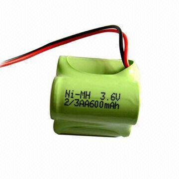 3.6V Ni-MH Battery Pack with 600mAh Nominal Capacity
