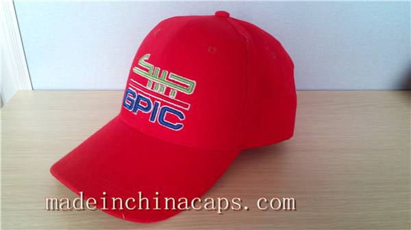 Sales red cotton with flat embroidery sports cap