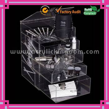 acrylic cosmetic organizer with 4 Drawers and Hinged Open Top Compartment