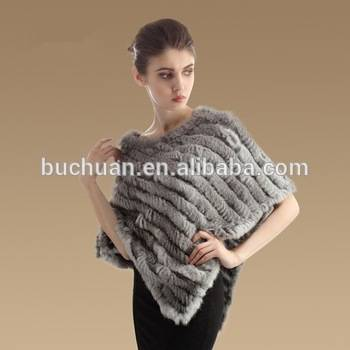 Knitted Gray Color Rabbit Fur Stole