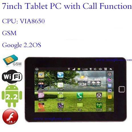 P800 7Inch google android os tablet PC with call function CPU VIA8650