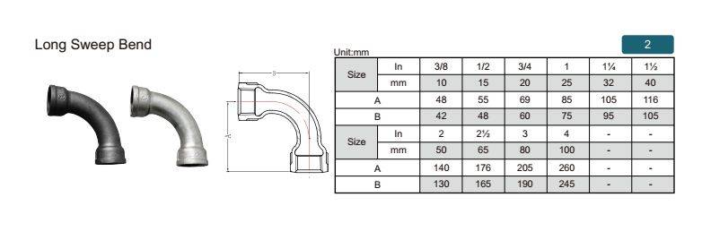 China Malleable iron pipe fitting Long Sweep Bend-2 with proper price and high quality