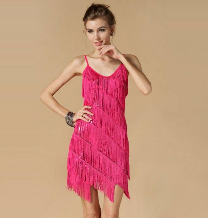 Sexy Spaghetti Strap Sequined Tassels Prom Dress