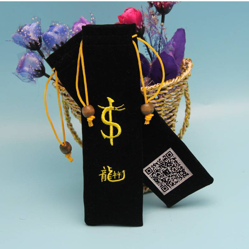 black color velvet pen packing pouch with embroidery logo
