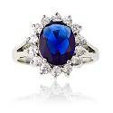 925 silver blue and clear cubic zirconie ring,925 silver jewelry,gemstone ring