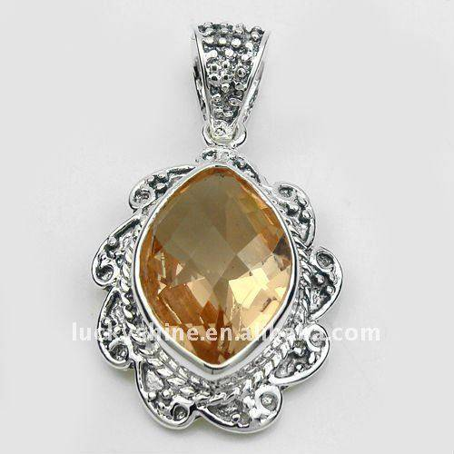 China jewelry wholesale 925 sterling silver citrine crystal pendant