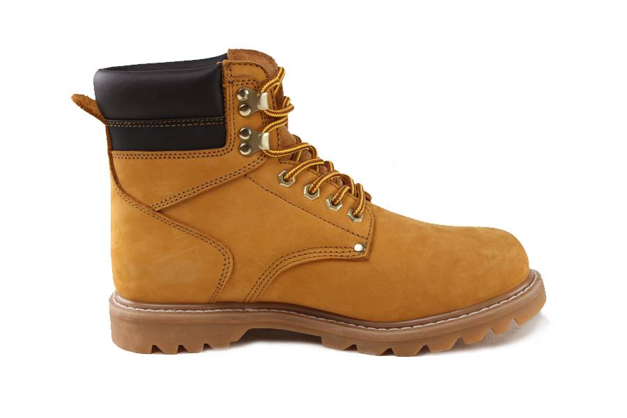 Yellow Nubuck Leather Goodyear Safety Shoes