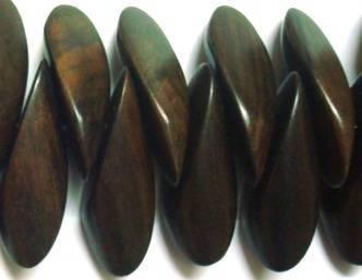 Tiger Ebony Wood Petals Beads, Top Drilled