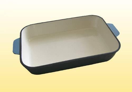 Cast iron enamel baking plate