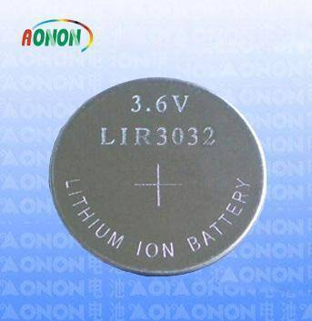 3.6V LIR3032 lithium ion button cell battery