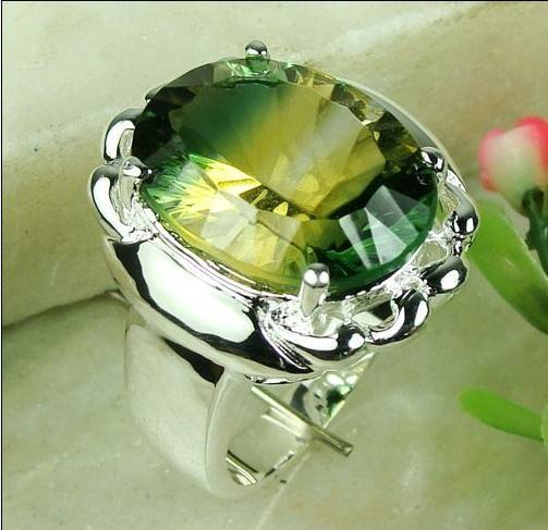 925 Sterling Silver yellow mystic topaz Gemstone ring