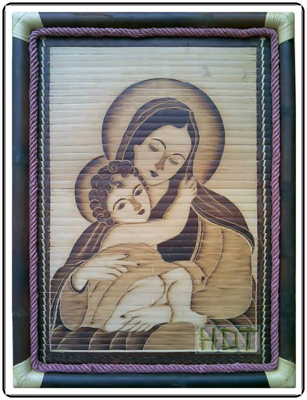 Shaving Smoked Bamboo Painting Portraits (Mary and Baby Jesus Artwork)_ This Is Not Painted