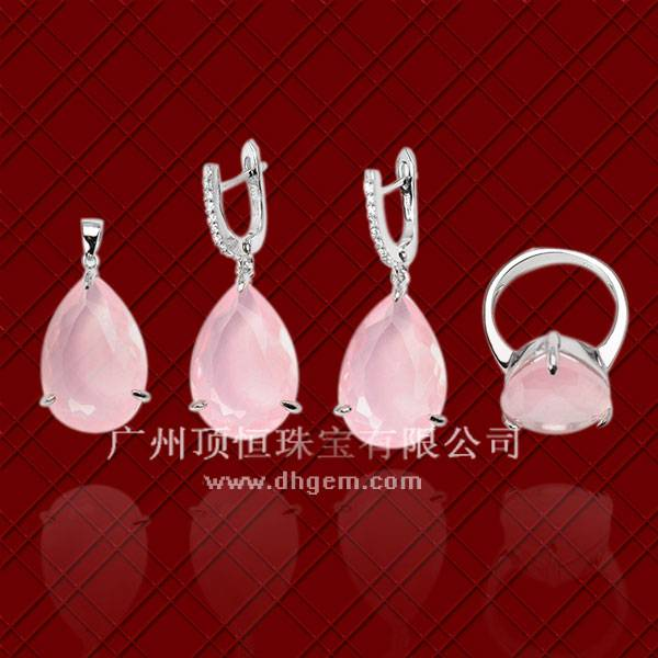 China Jewelry Good Quality Rose Quartz 925 Sterling Silver Jewelry Set Wholesale