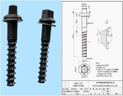 screw spike, rail sleeper screw
