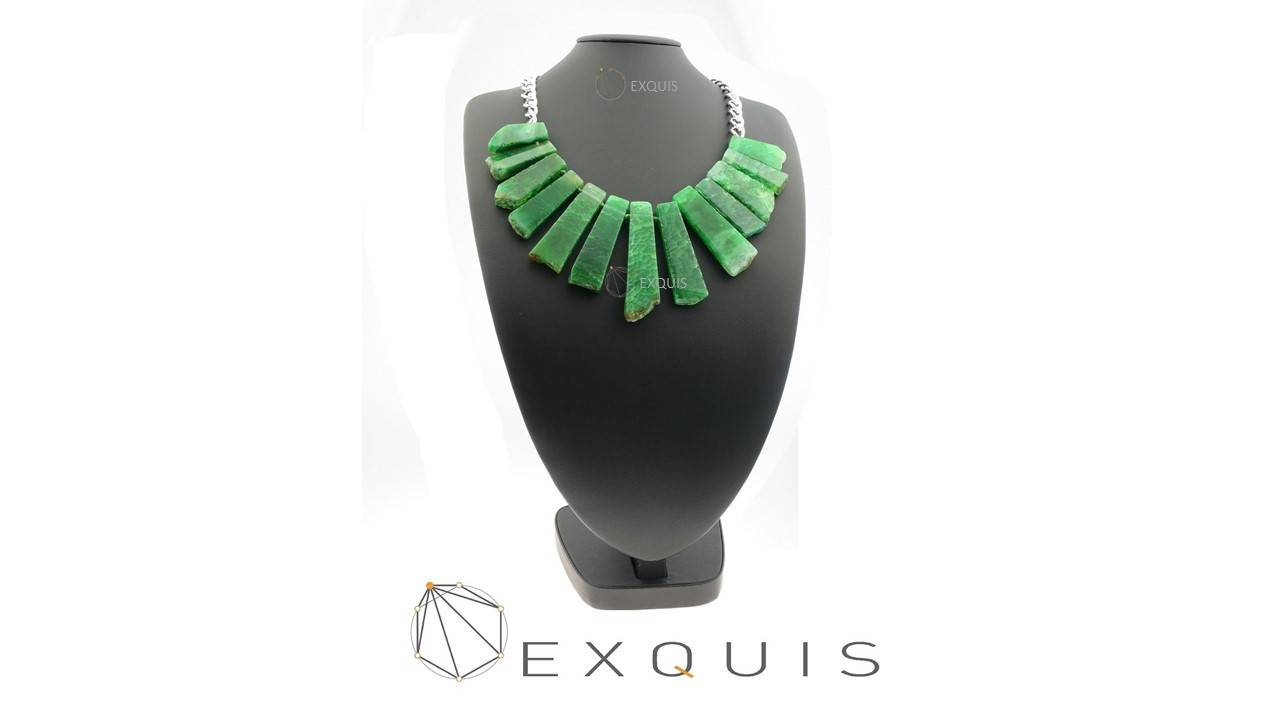 Green Agate Chunky Brass Necklace