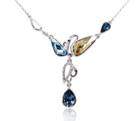 Wholesale Sweet Lolita style swan bracelet with light sapphire wing shape Swarovski element crystal