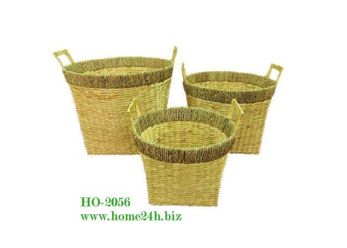 Water Hyacinth Basket s/3, high quality & natural color