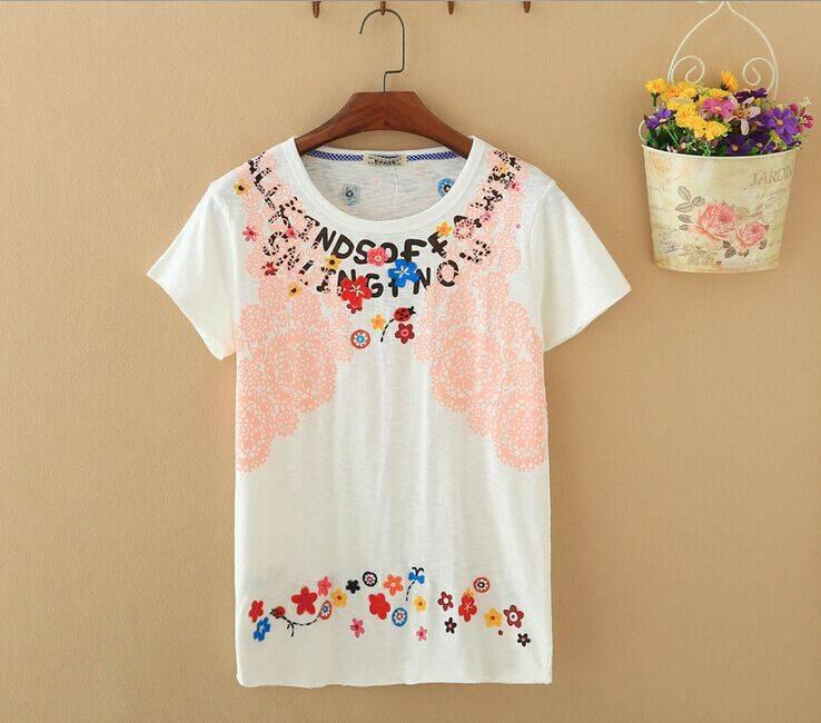 2015 New Lady Floral Pattern Short SleeveT-Shirt