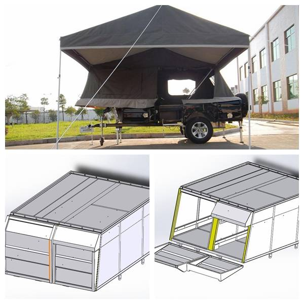 ADRs 62 Off road travel trailer with big toolbox for 80L fridge storage