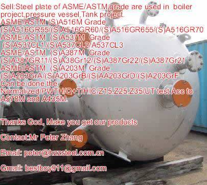 Sell :Spec ASTM/ASME SA203M steel plate,Grade,SA203GRA/B/D/E/F+HIC, A203GrA/B/D/E/F+N/Boiler steel