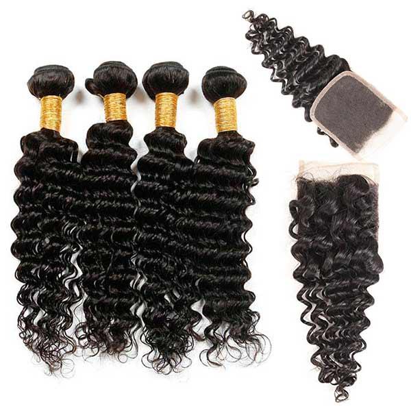 8A Indian Deep Wave Human Virgin Hair Weave 4 Bundles With Lace Closure