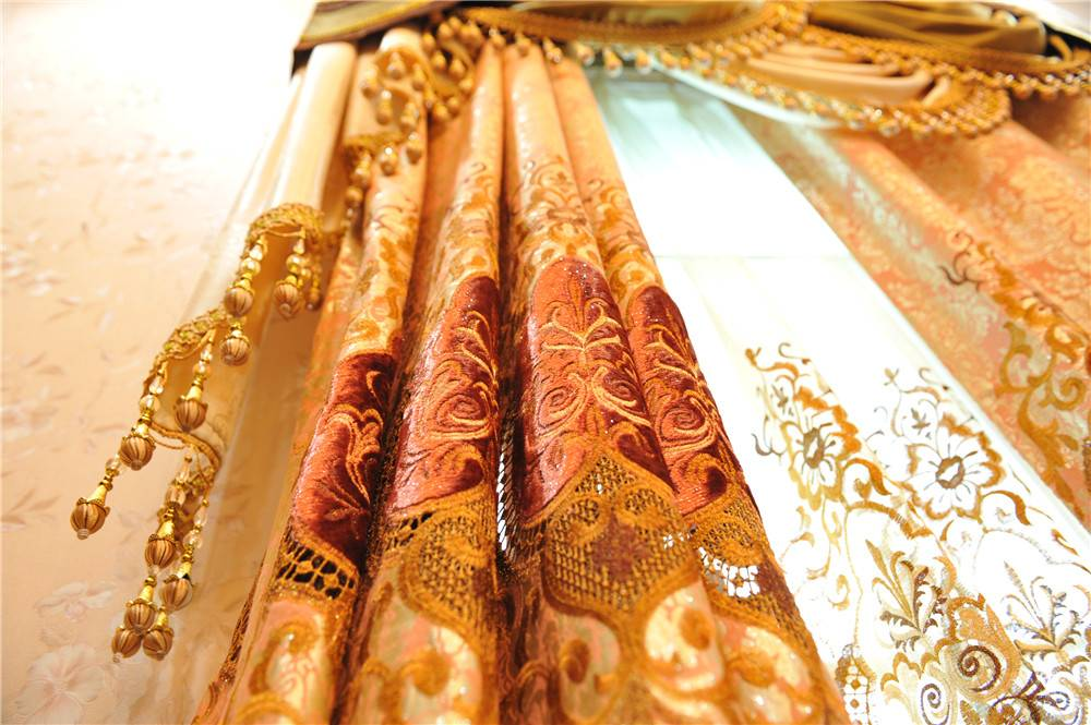 embroidered curtain shading fabrics