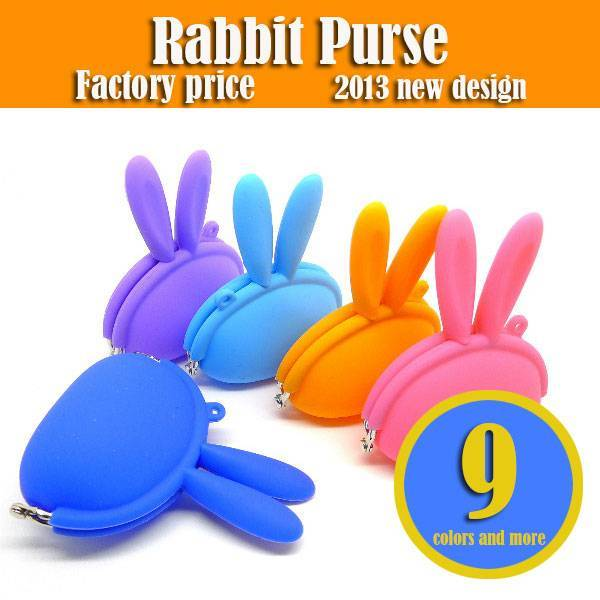 wholesale promotion rabbit silicone coin purse