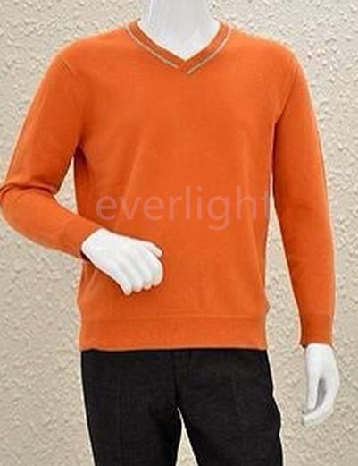 Men's pure cashmere v-neck pullover long sleeves orange color sweater