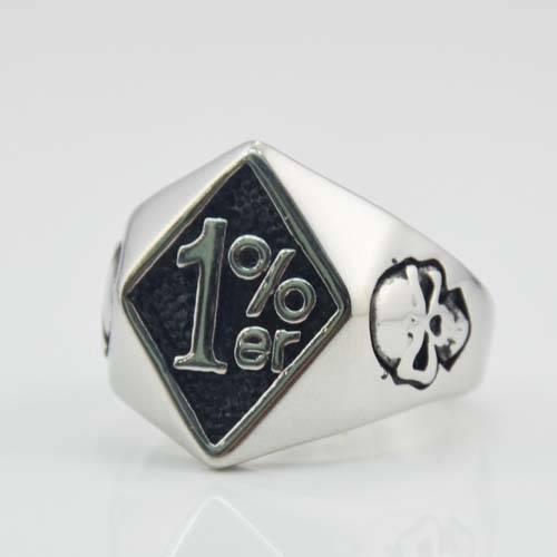 Good selling fashion rings jewelry 1%er Stainless Steel skull biker ring