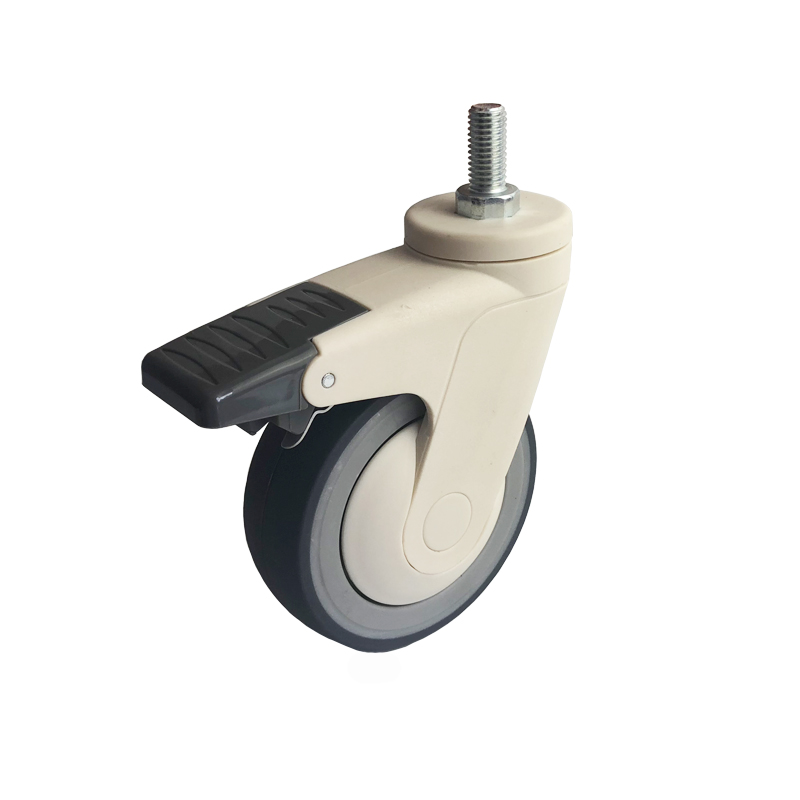 57series single piece full plastic medical caster wheel with brake