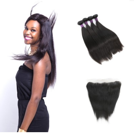 9A 4 Bundles Peruvian Straight Hair Weave With Lace Frontal