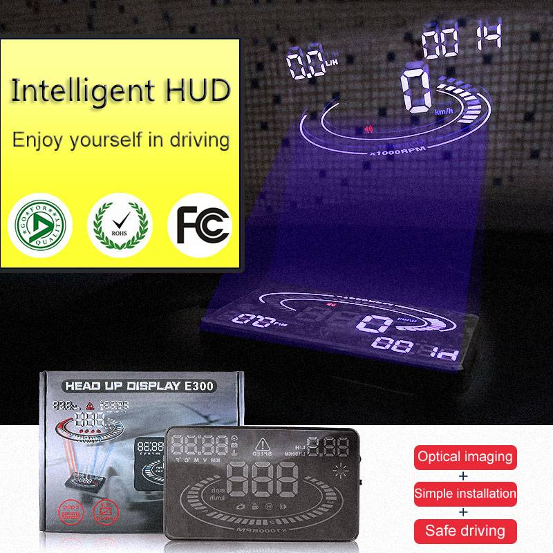 high performance CE 5.5 inch Car hud head up Display OBD II speed monitor car hud Suitable for most