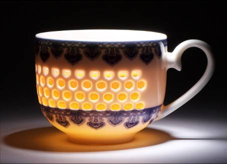 glowing porcelain cup