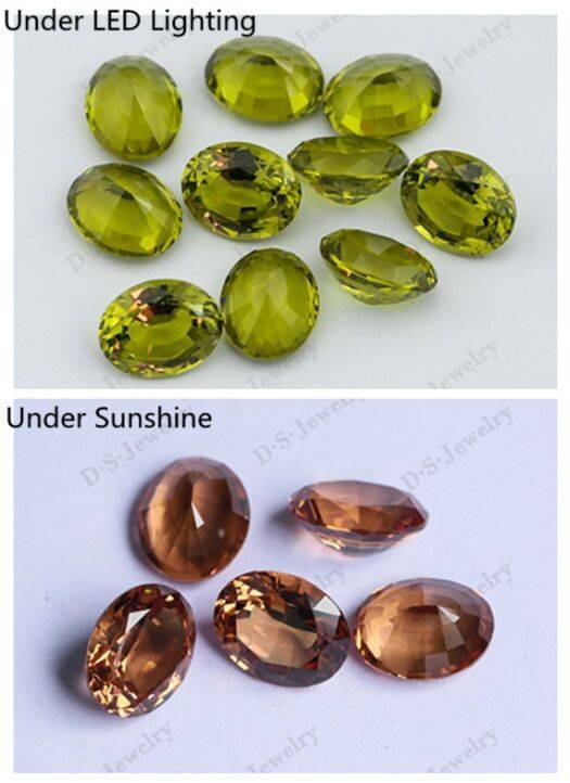 Oval Brilliant/Step Cut Nanosital Color Changing Loose Gemstones