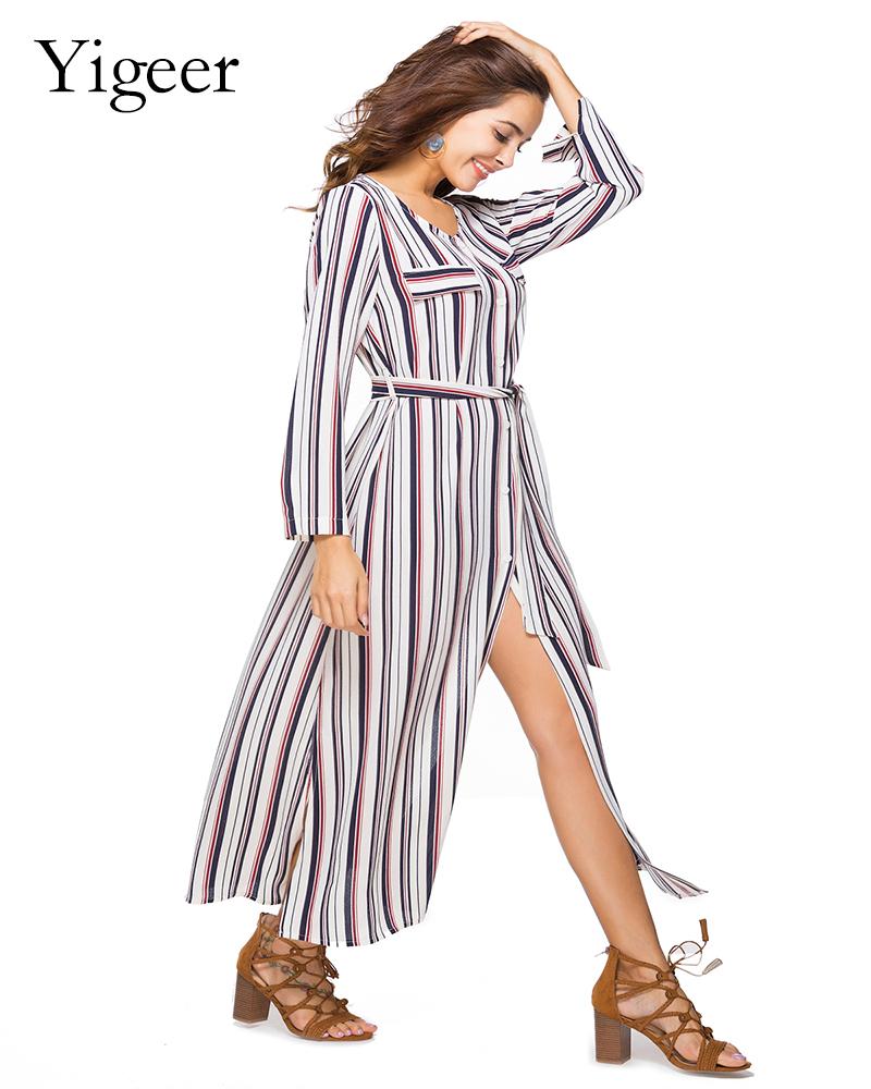 Long Sleeve Buttons Down Striped Waist Band Long Shirt Dress