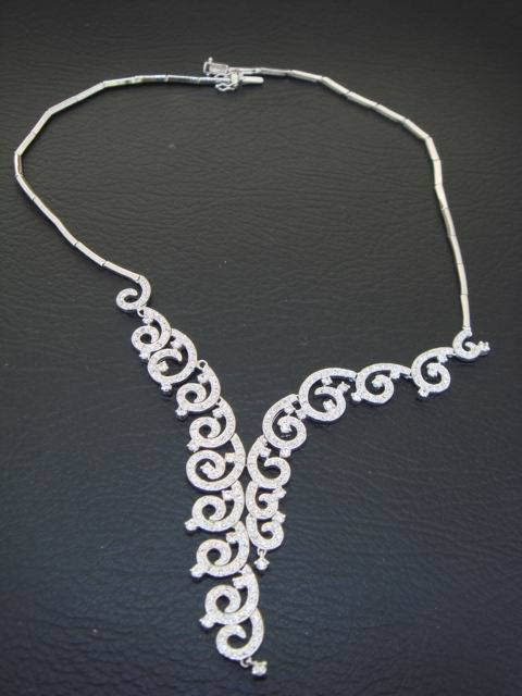 925 sterling silver necklace inlayed with cz gems 04080